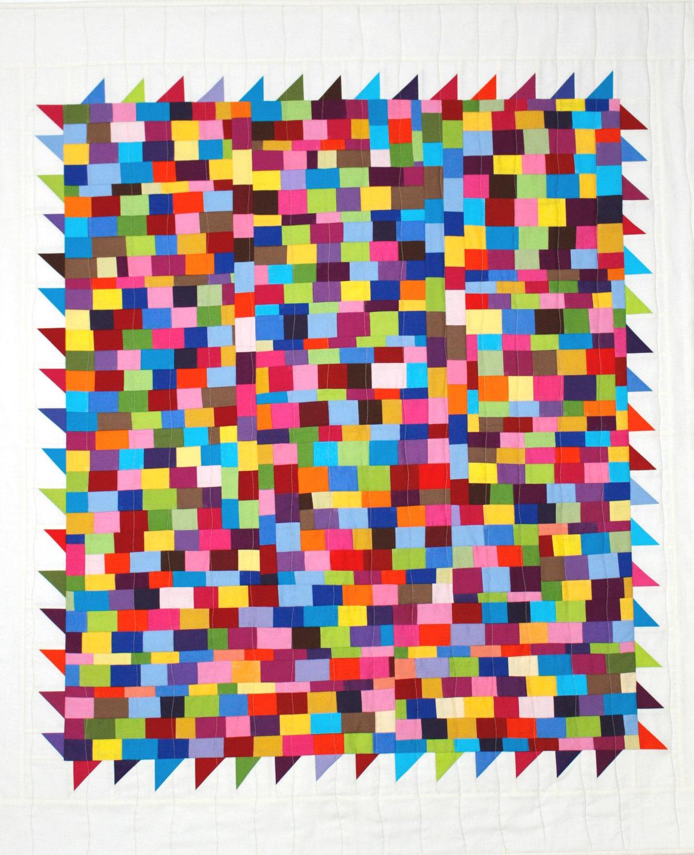 Multi Colors Modern Quilt from Etsy shop KarenGriskaQuilts