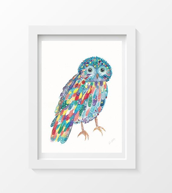 owlwatercolourprint