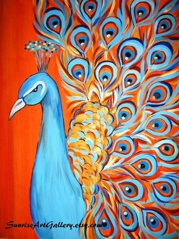 peacockartprintorangeandblue