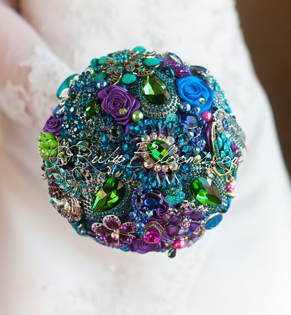 peacockweddingbouquet