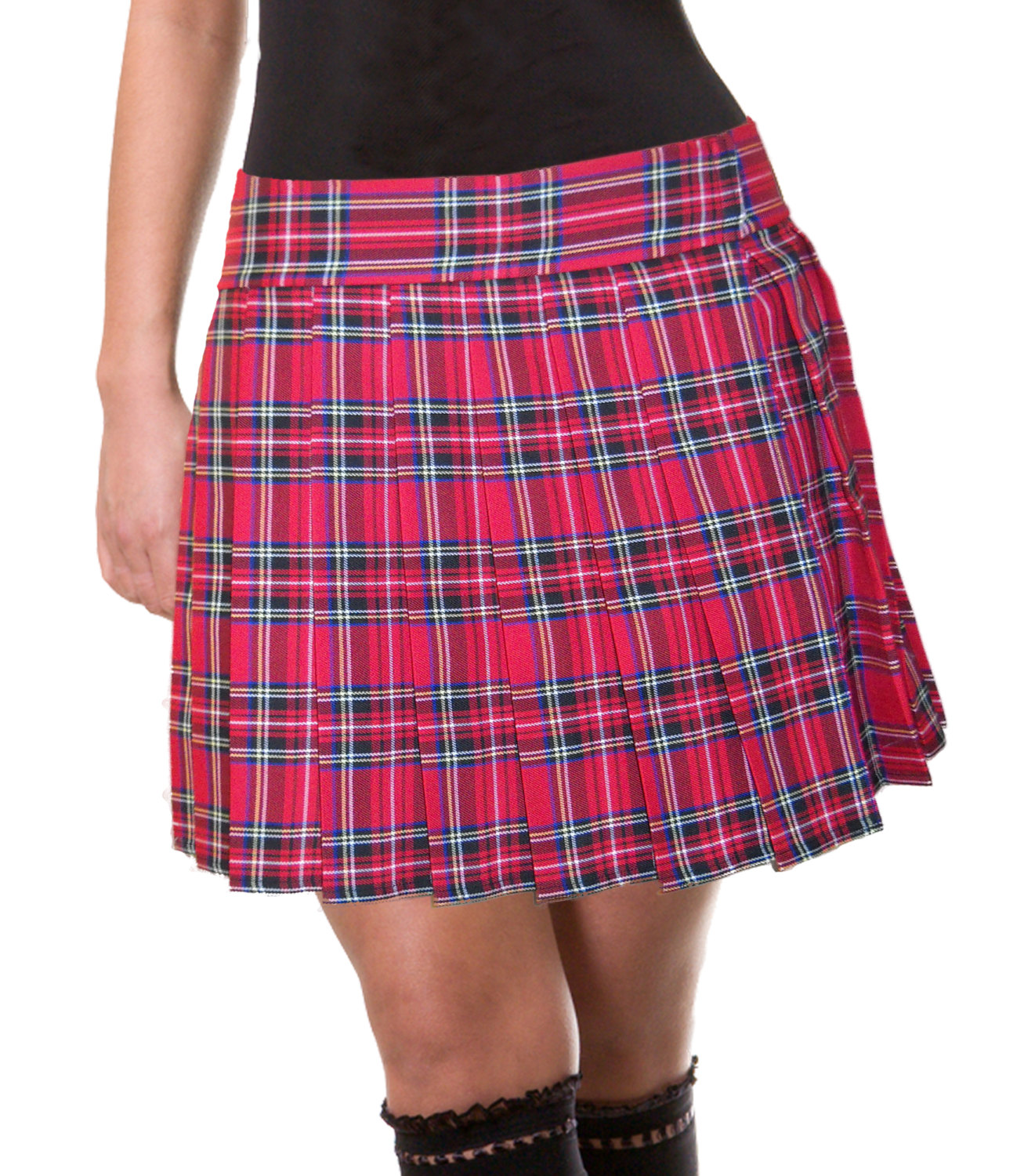 pleatedredtartanskirt