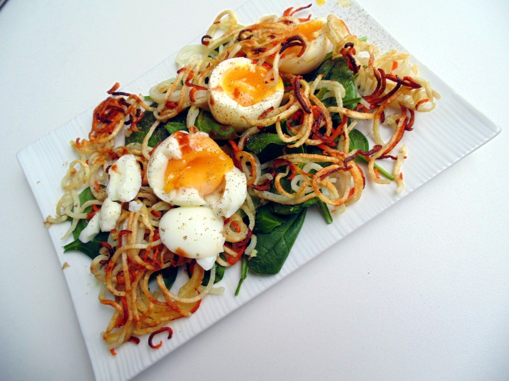 spiralized potato egg on spinach breakfast